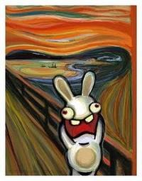 """Parodie """"lapin crétin"""" du tableau de Munch"""